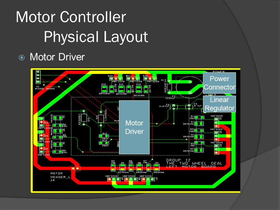 Motor Controller Physical Layout  Motor Driver Power Connector Linear Regulator Motor Driver