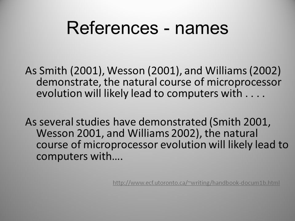 References - names As Smith (2001), Wesson (2001), and Williams (2002) demonstrate, the natural course of microprocessor evolution will likely lead to computers with....