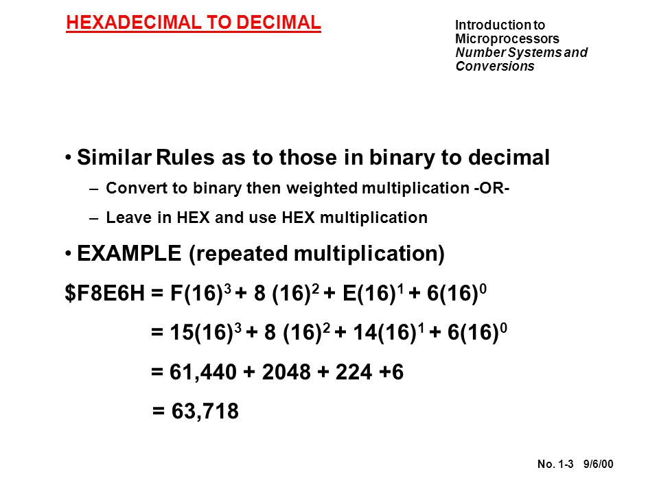 Introduction to Microprocessors Number Systems and Conversions No. 1-3 9/6/00 HEXADECIMAL TO DECIMAL Similar Rules as to those in binary to decimal –C