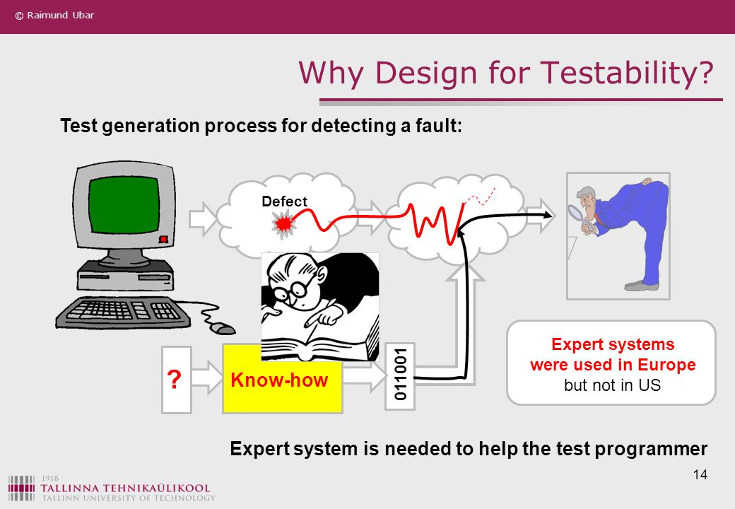 © Raimund Ubar 14 Why Design for Testability? Defect ? Expert systems were used in Europe but not in US Test generation process for detecting a fault: