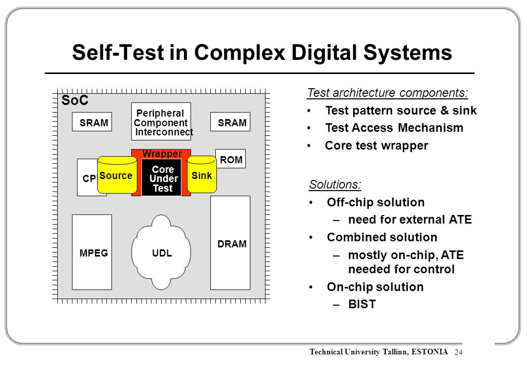Technical University Tallinn, ESTONIA Self-Test in Complex Digital Systems 24 Test architecture components: Test pattern source & sink Test Access Mechanism Core test wrapper Solutions: Off-chip solution –need for external ATE Combined solution –mostly on-chip, ATE needed for control On-chip solution –BIST