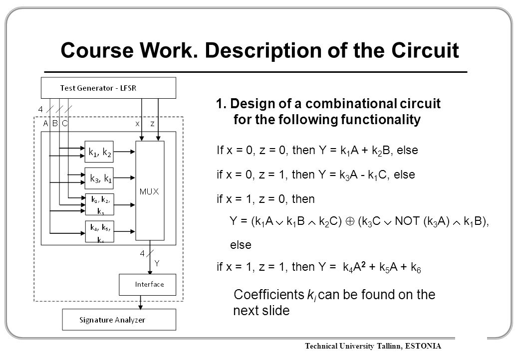 Technical University Tallinn, ESTONIA Course Work. Description of the Circuit 1. Design of a combinational circuit for the following functionality If