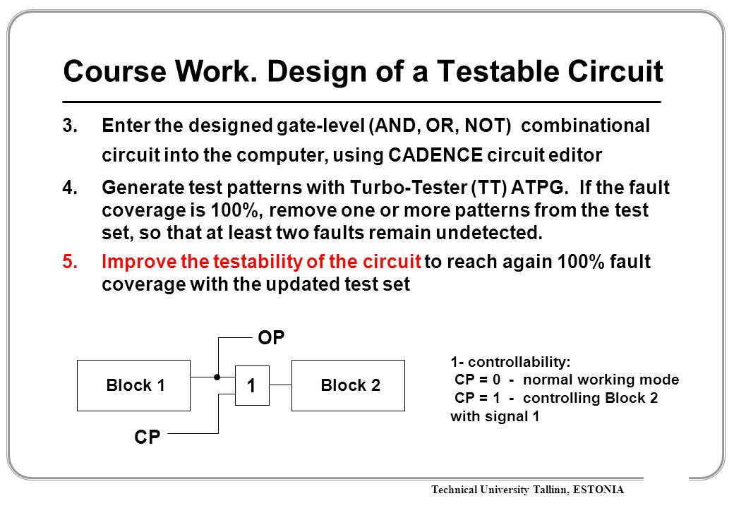 Technical University Tallinn, ESTONIA Course Work. Design of a Testable Circuit 3.Enter the designed gate-level (AND, OR, NOT) combinational circuit i