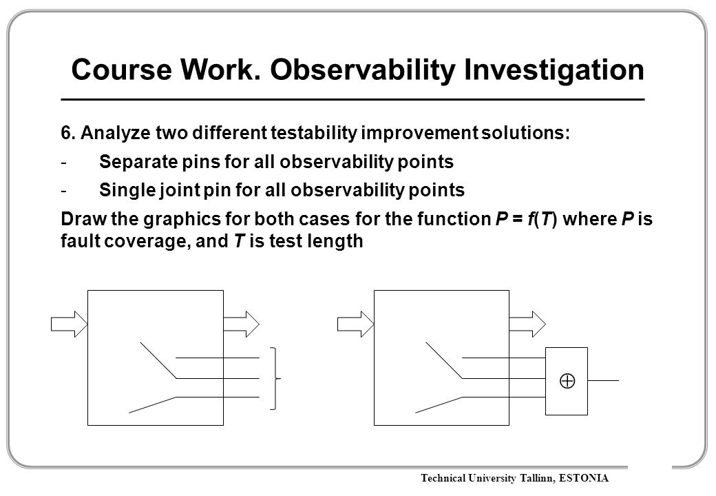 Technical University Tallinn, ESTONIA Course Work. Observability Investigation 6. Analyze two different testability improvement solutions: -Separate p