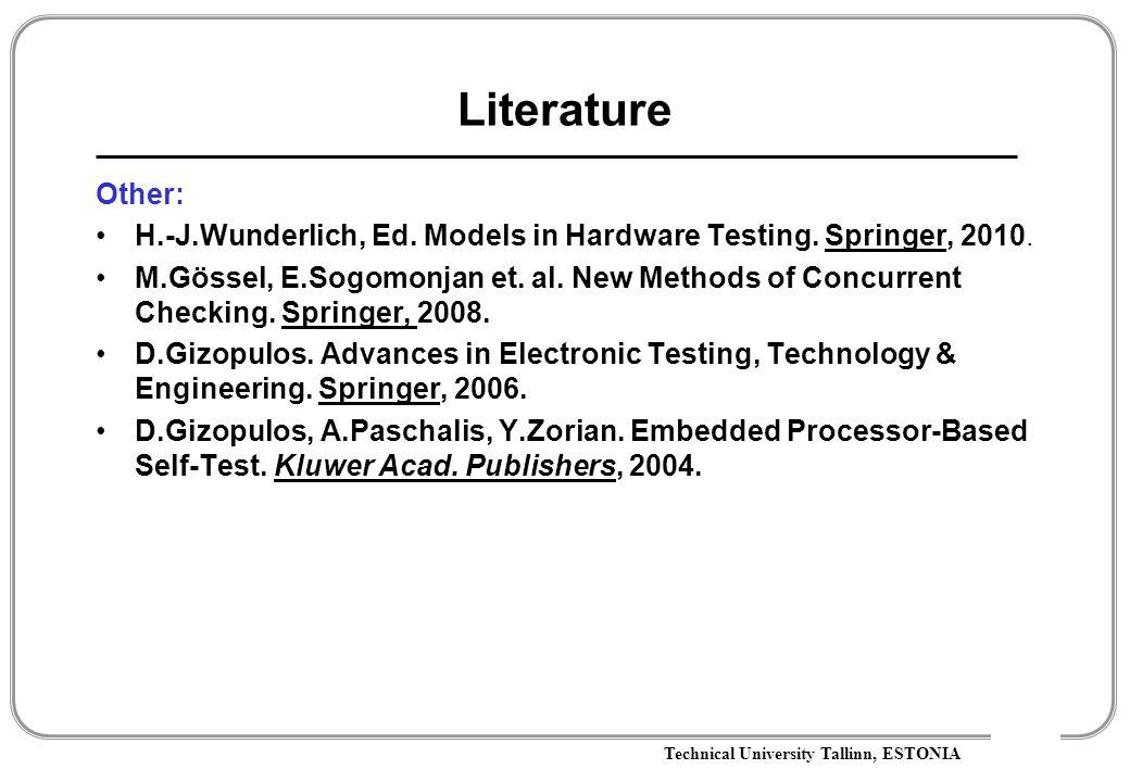 Technical University Tallinn, ESTONIA Literature Other: H.-J.Wunderlich, Ed.