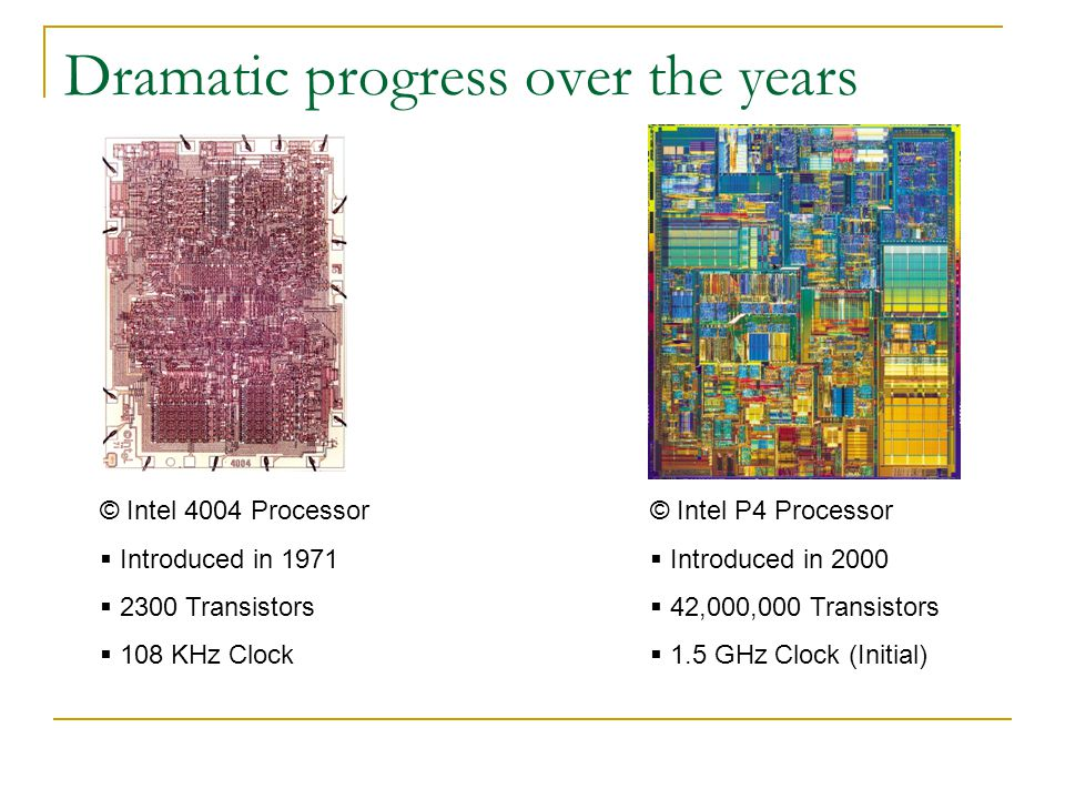 Dramatic progress over the years © Intel 4004 Processor  Introduced in 1971  2300 Transistors  108 KHz Clock © Intel P4 Processor  Introduced in 2000  42,000,000 Transistors  1.5 GHz Clock (Initial)