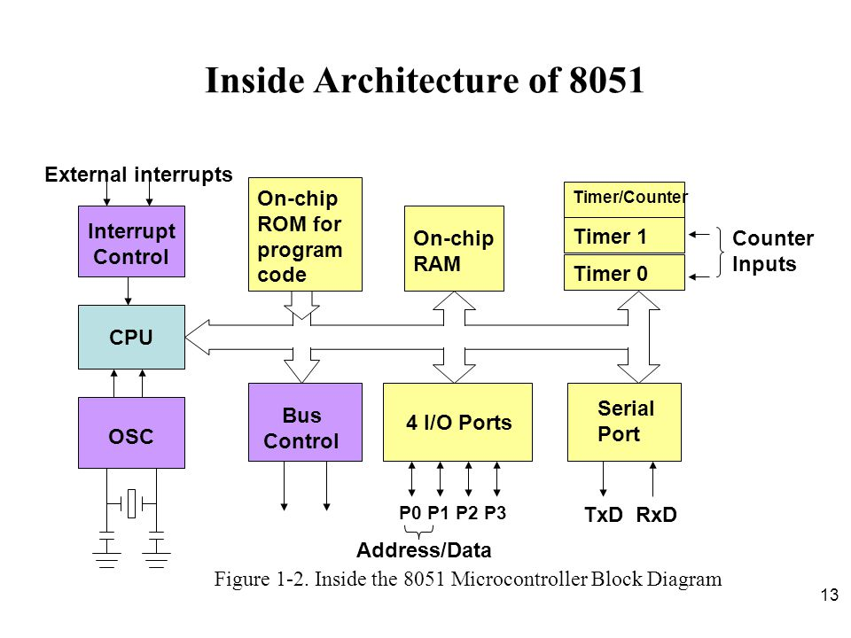 13 Inside Architecture of 8051 CPU On-chip RAM On-chip ROM for program code 4 I/O Ports Timer 0 Serial Port Figure 1-2. Inside the 8051 Microcontrolle