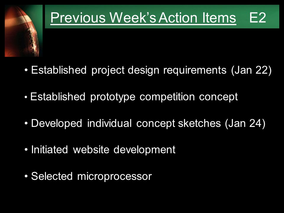 Previous Week's Action Items E2 Established project design requirements (Jan 22) Established prototype competition concept Developed individual concept sketches (Jan 24) Initiated website development Selected microprocessor