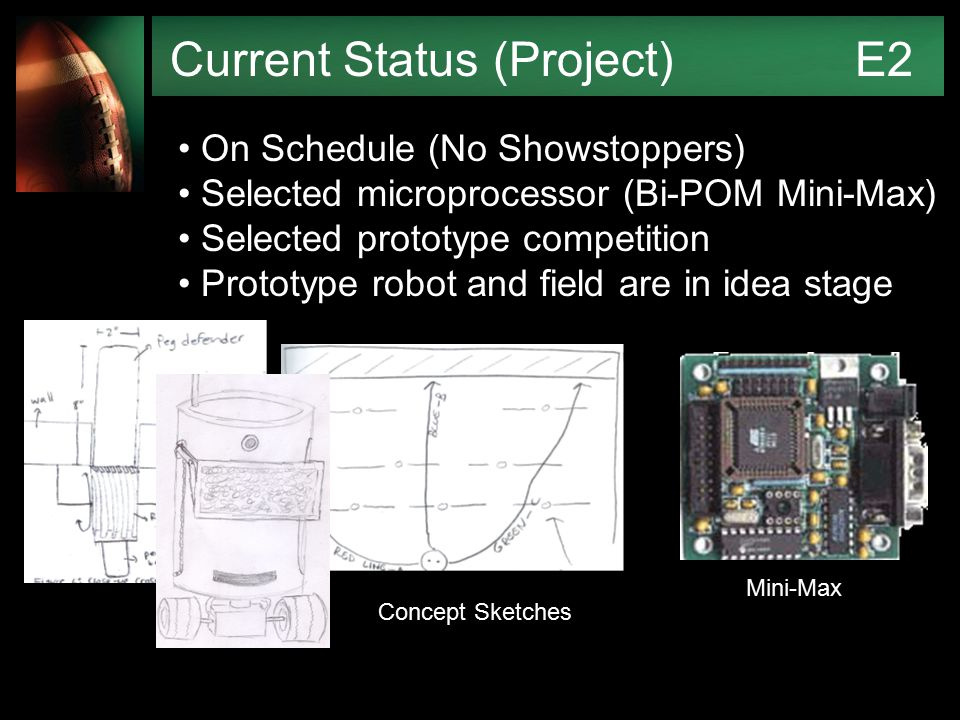 Current Status (Project) E2 On Schedule (No Showstoppers) Selected microprocessor (Bi-POM Mini-Max) Selected prototype competition Prototype robot and field are in idea stage Mini-Max Concept Sketches