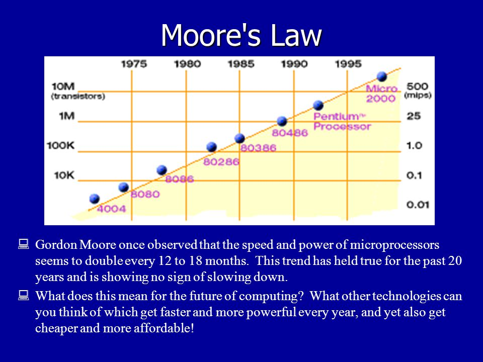 Moore s Law  Gordon Moore once observed that the speed and power of microprocessors seems to double every 12 to 18 months.