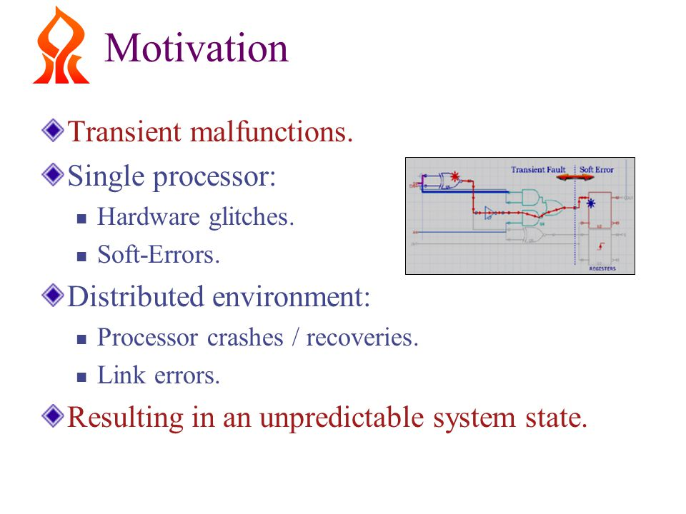 Motivation Transient malfunctions. Single processor: Hardware glitches.