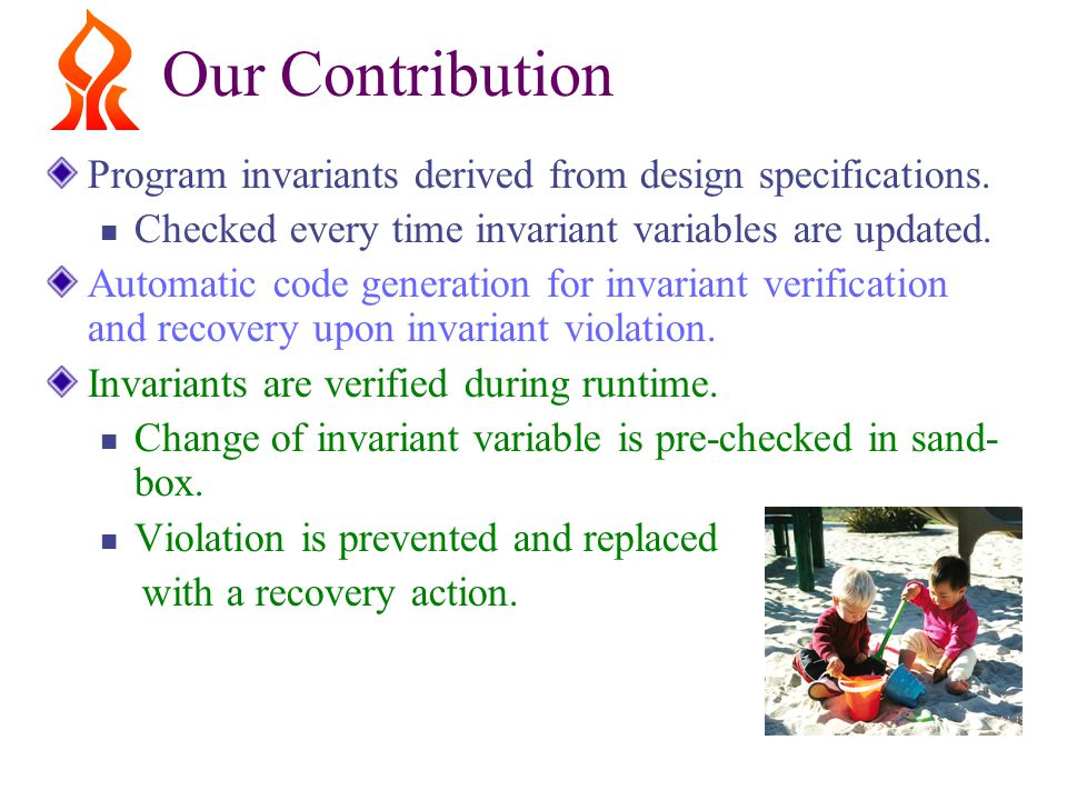 Our Contribution Program invariants derived from design specifications.
