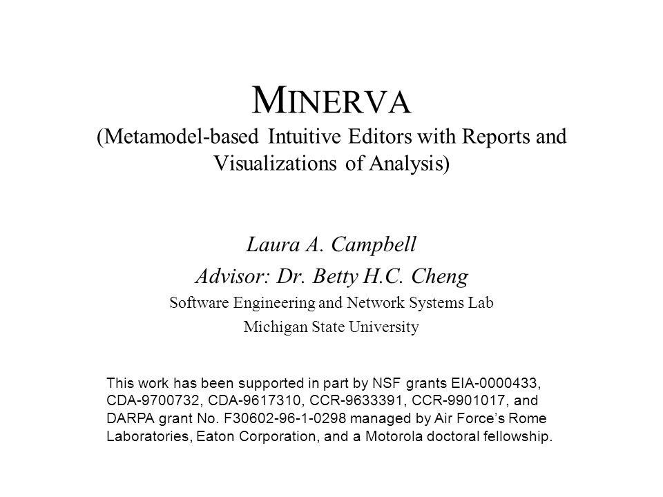 M INERVA (Metamodel-based Intuitive Editors with Reports and Visualizations of Analysis) Laura A.