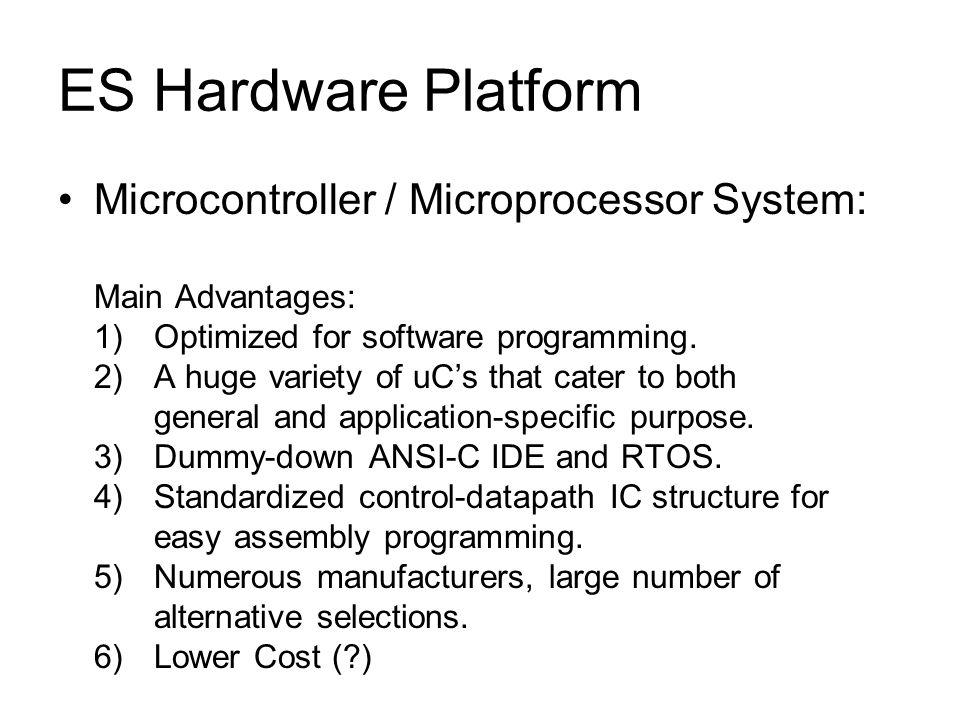 ES Hardware Platform Microcontroller / Microprocessor System: Main Advantages: 1)Optimized for software programming.