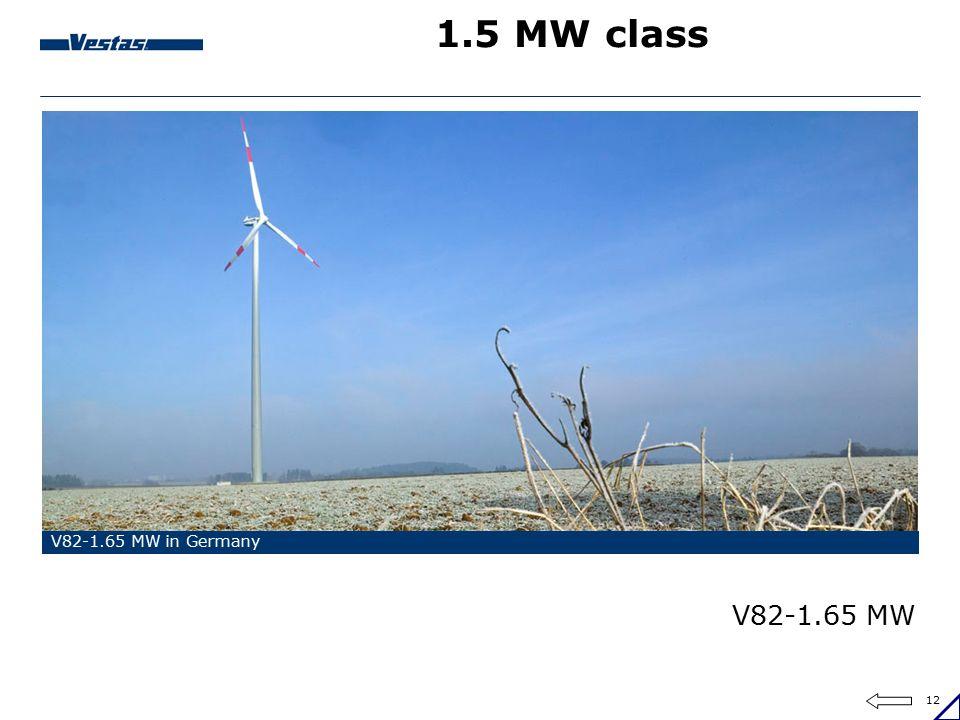 12 1.5 MW class V82-1.65 MW in Germany V82-1.65 MW