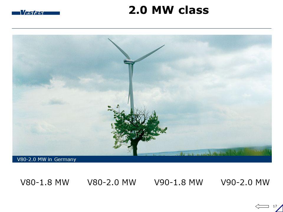 17 2.0 MW class V80-2.0 MW in Germany V80-2.0 MWV90-2.0 MWV80-1.8 MWV90-1.8 MW