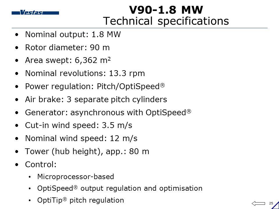 25 V90-1.8 MW Technical specifications Nominal output: 1.8 MW Rotor diameter: 90 m Area swept: 6,362 m 2 Nominal revolutions: 13.3 rpm Power regulatio