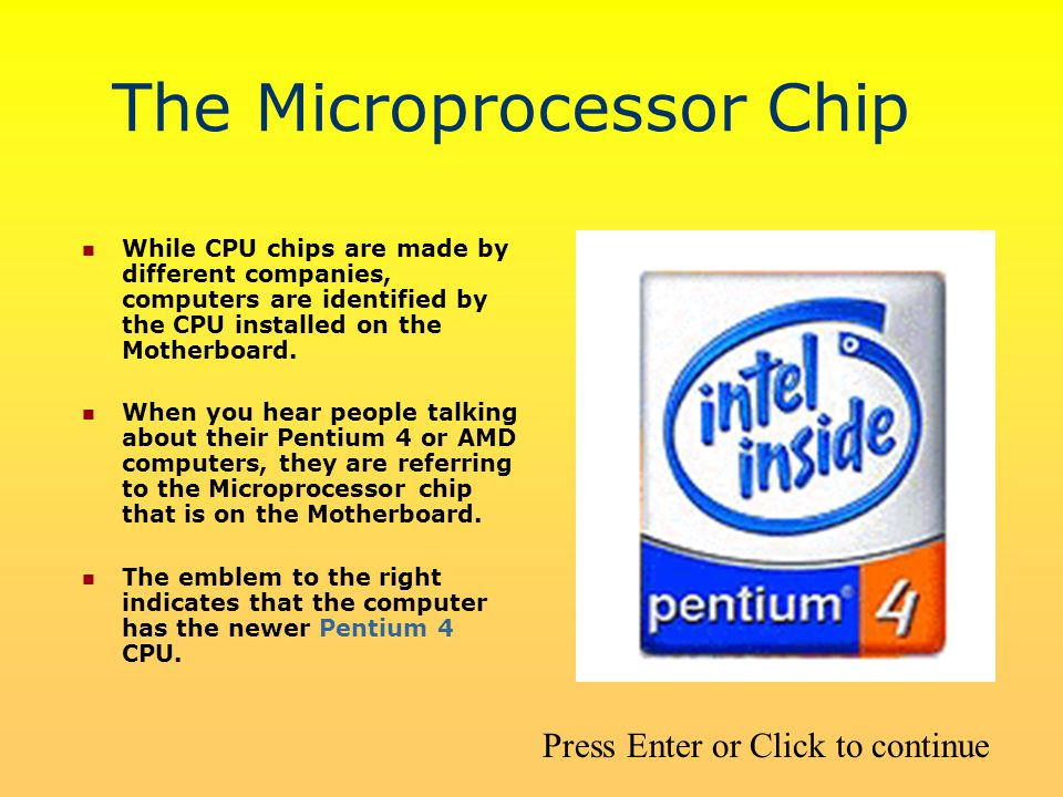 The Microprocessor Chip While CPU chips are made by different companies, computers are identified by the CPU installed on the Motherboard.