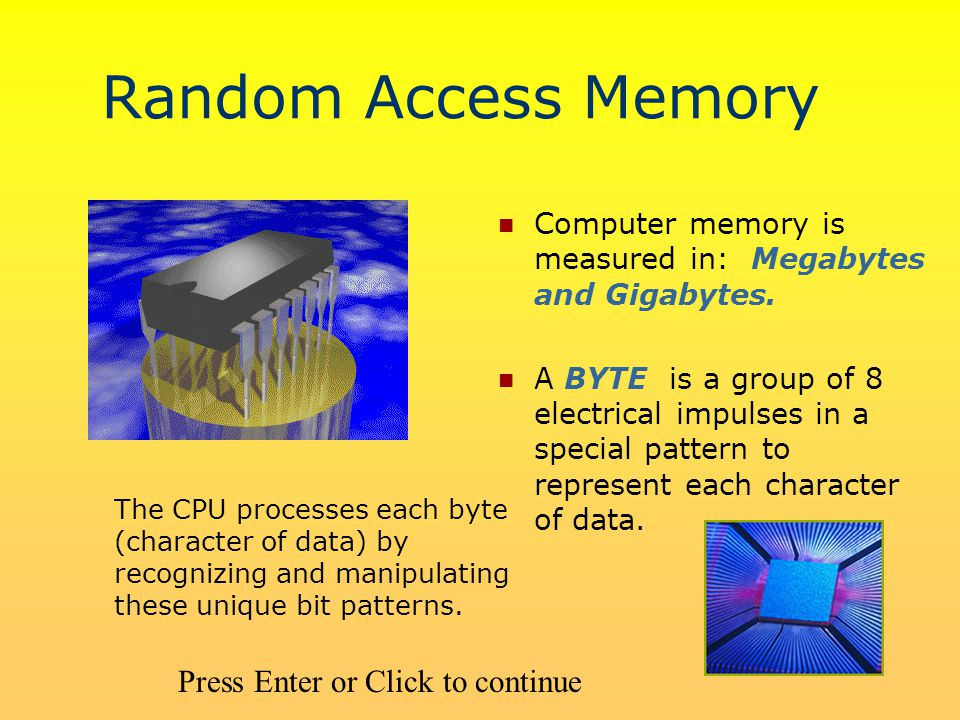 Random Access Memory Computer memory is measured in: Megabytes and Gigabytes.