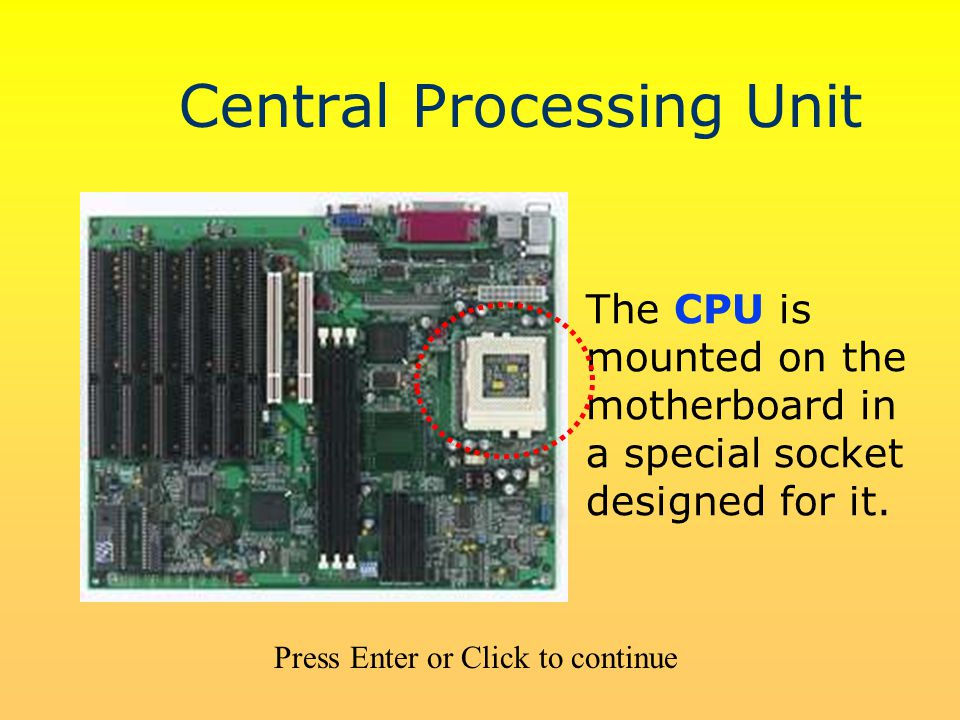Central Processing Unit The CPU is mounted on the motherboard in a special socket designed for it. Press Enter or Click to continue