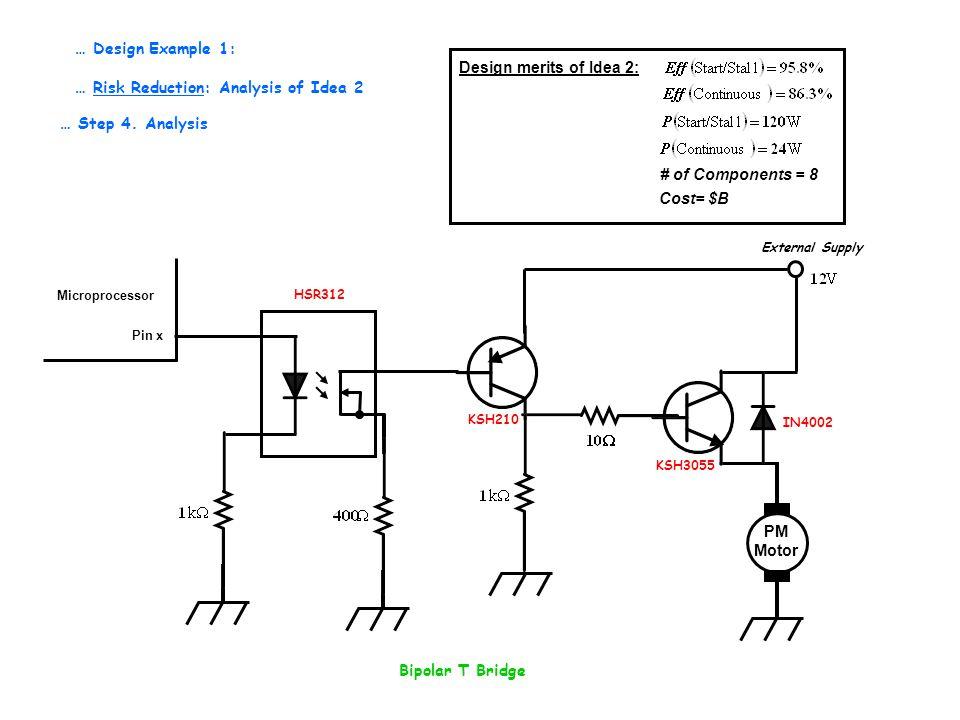 Bipolar T Bridge … Step 4. Analysis … Design Example 1: … Risk Reduction: Analysis of Idea 2 PM Motor Pin x Microprocessor External Supply IN4002 KSH3