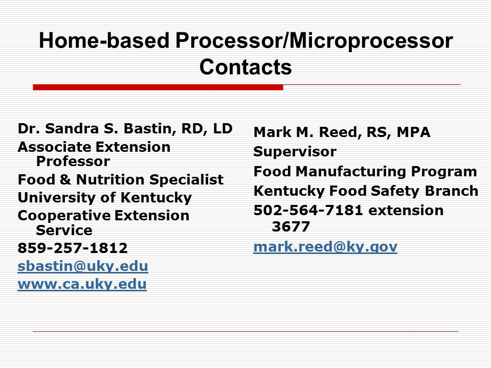 Home-based Processor/Microprocessor Contacts Dr. Sandra S.