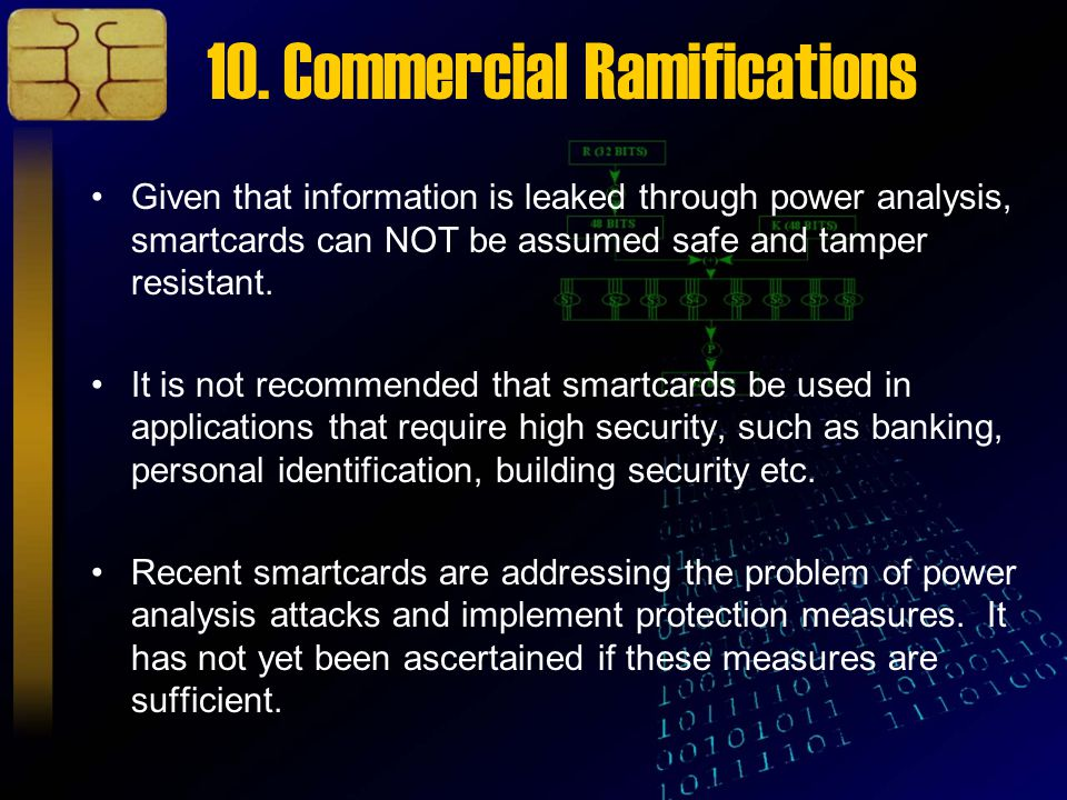 10. Commercial Ramifications Given that information is leaked through power analysis, smartcards can NOT be assumed safe and tamper resistant. It is n