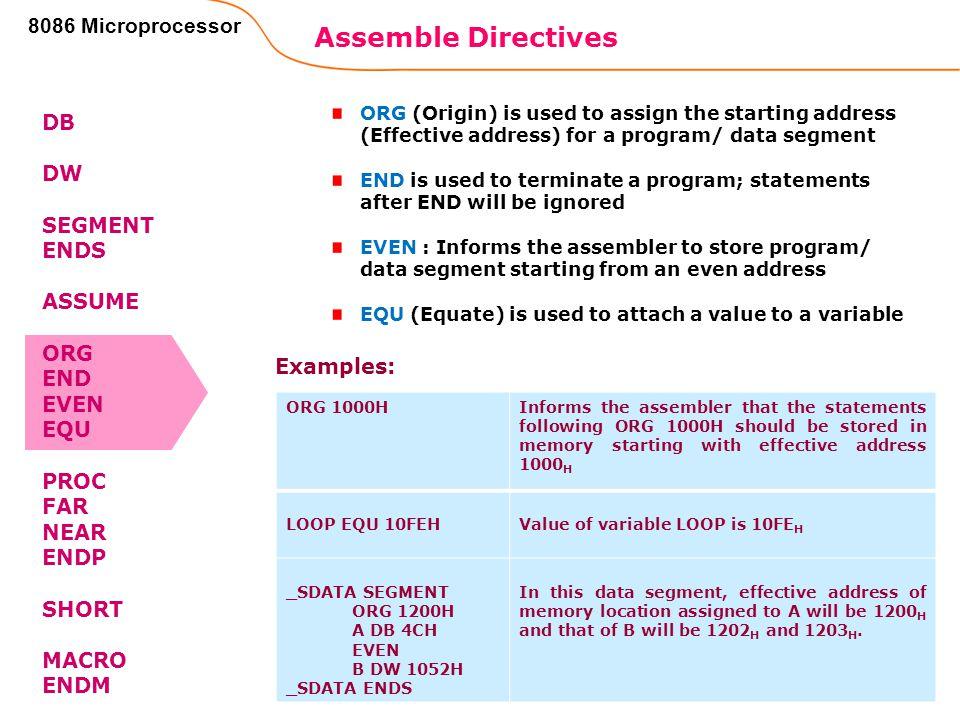 Assemble Directives 102 8086 Microprocessor DB DW SEGMENT ENDS ASSUME ORG END EVEN EQU PROC FAR NEAR ENDP SHORT MACRO ENDM ORG (Origin) is used to ass