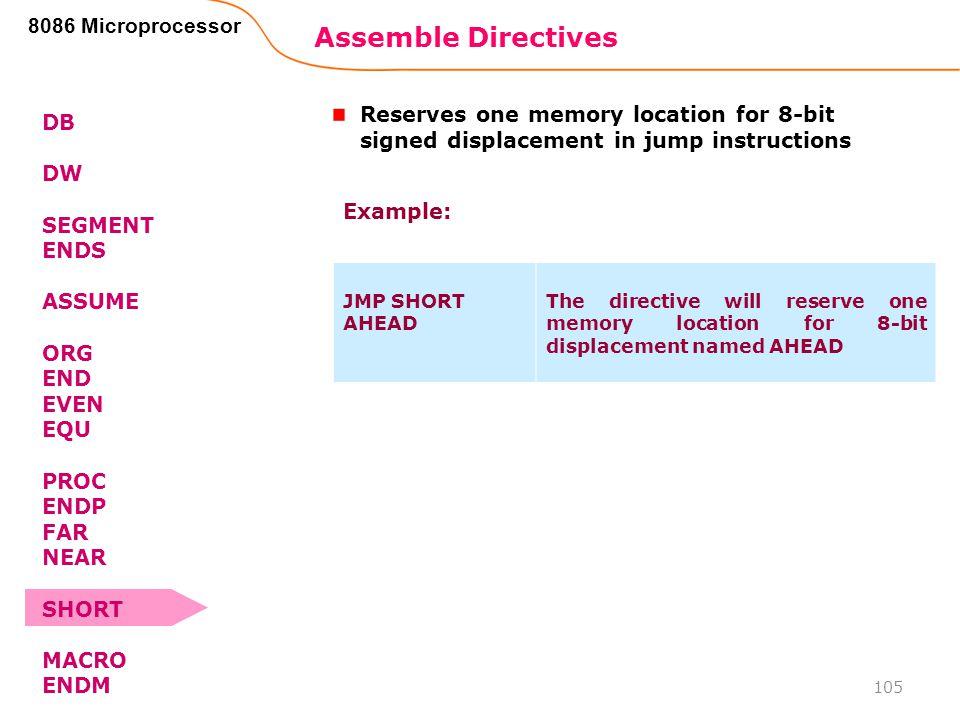 Assemble Directives 105 8086 Microprocessor DB DW SEGMENT ENDS ASSUME ORG END EVEN EQU PROC ENDP FAR NEAR SHORT MACRO ENDM Reserves one memory locatio