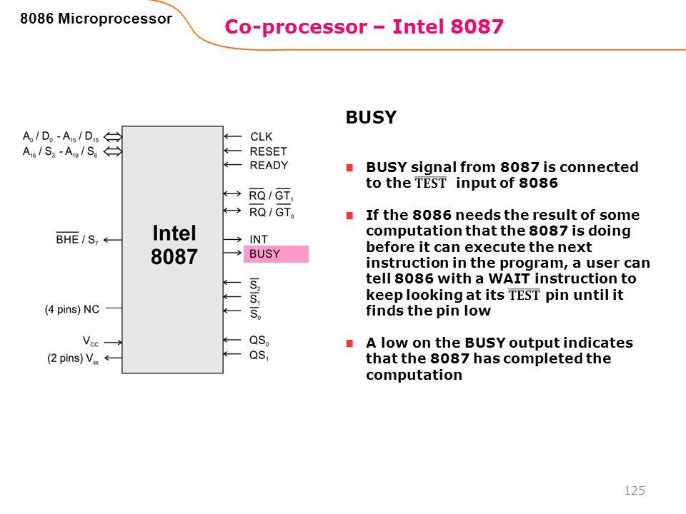 Co-processor – Intel 8087 125 8086 Microprocessor BUSY