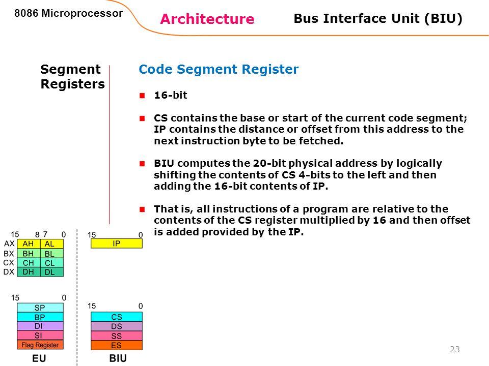 Architecture 8086 Microprocessor 23 Bus Interface Unit (BIU) Segment Registers Code Segment Register 16-bit CS contains the base or start of the curre