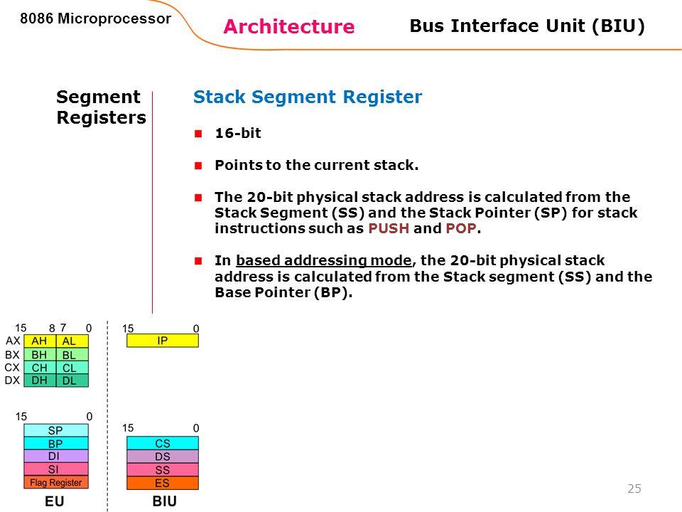 Architecture 8086 Microprocessor 25 Bus Interface Unit (BIU) Segment Registers Stack Segment Register 16-bit Points to the current stack. The 20-bit p
