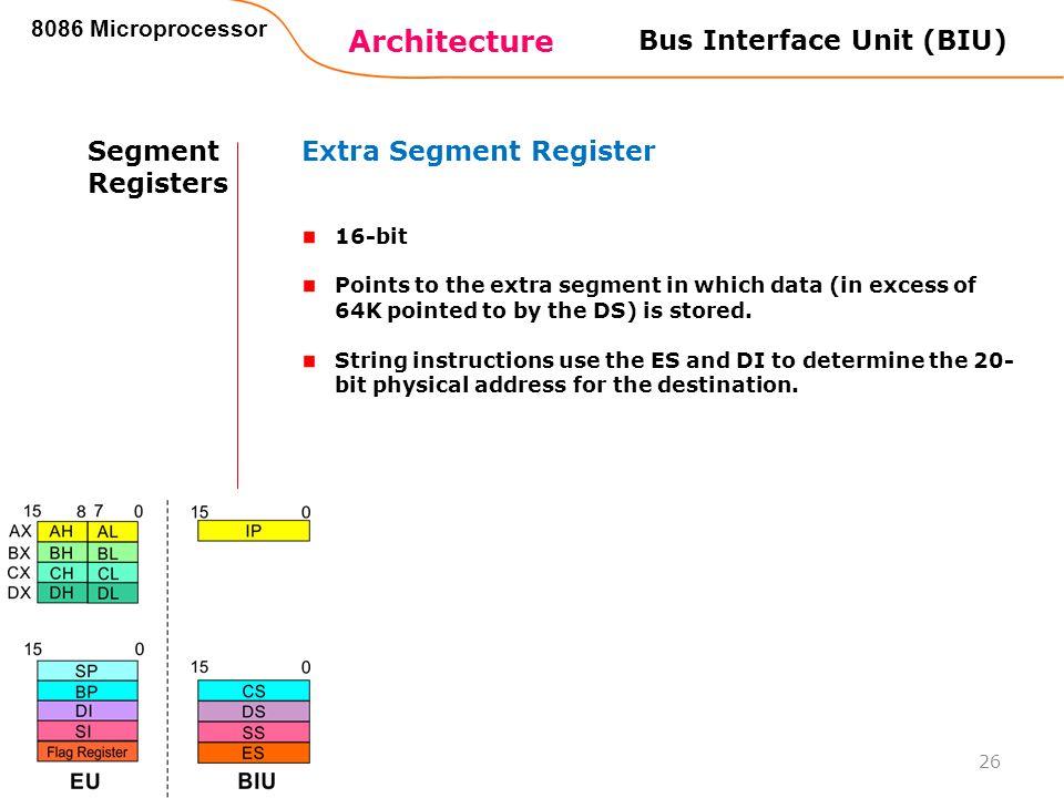Architecture 8086 Microprocessor 26 Bus Interface Unit (BIU) Segment Registers Extra Segment Register 16-bit Points to the extra segment in which data