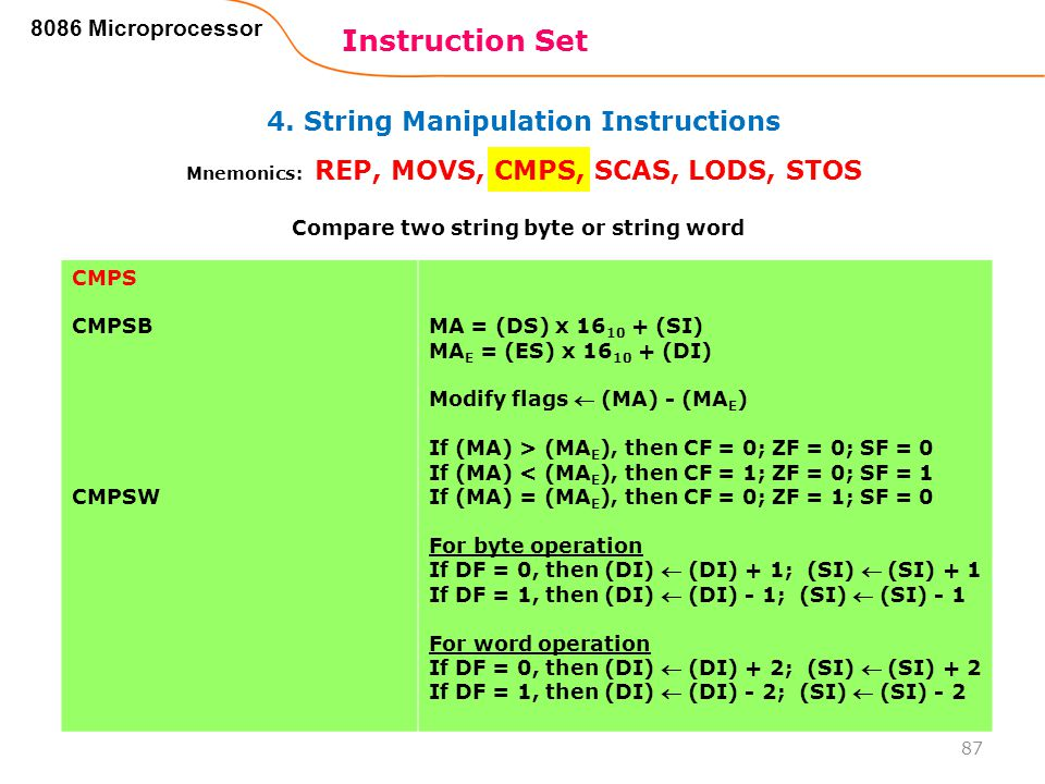 4. String Manipulation Instructions Instruction Set 87 8086 Microprocessor Mnemonics: REP, MOVS, CMPS, SCAS, LODS, STOS CMPS CMPSB CMPSW MA = (DS) x 1