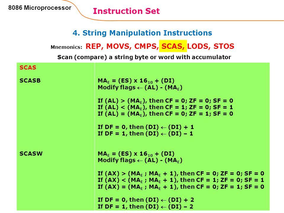4. String Manipulation Instructions Instruction Set 88 8086 Microprocessor Mnemonics: REP, MOVS, CMPS, SCAS, LODS, STOS SCAS SCASB SCASW MA E = (ES) x