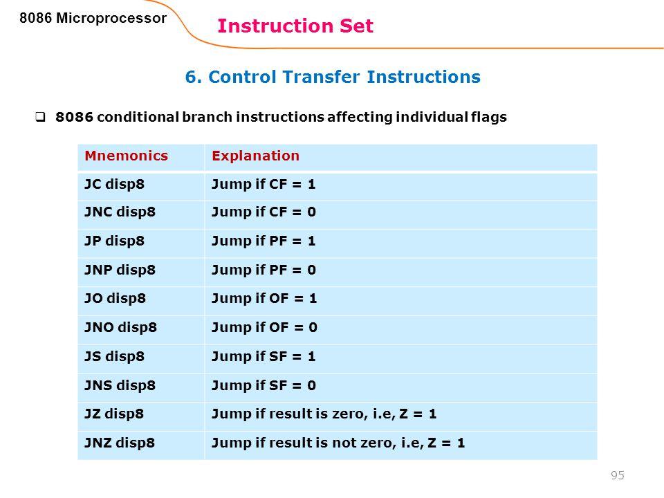 6. Control Transfer Instructions Instruction Set 95 8086 Microprocessor MnemonicsExplanation JC disp8Jump if CF = 1 JNC disp8Jump if CF = 0 JP disp8Ju