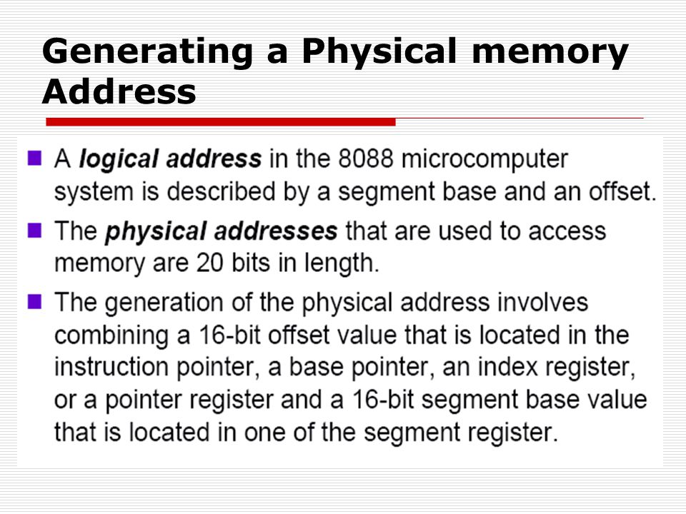 Generating a Physical memory Address