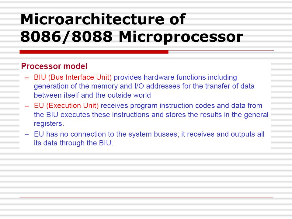 Microarchitecture of 8086/8088 Microprocessor