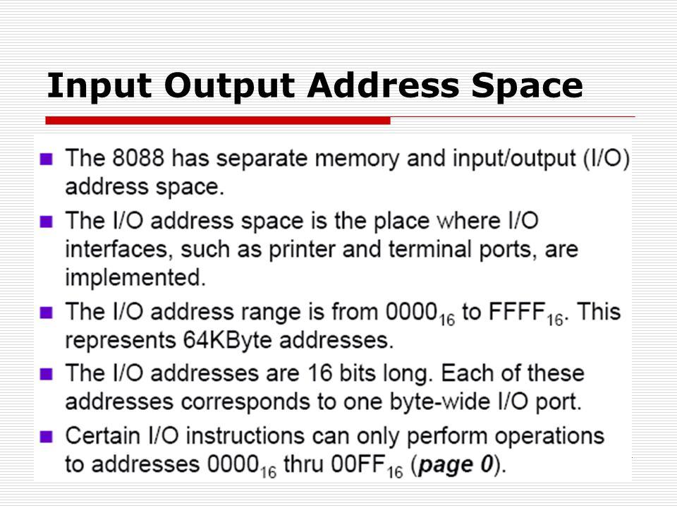 Input Output Address Space
