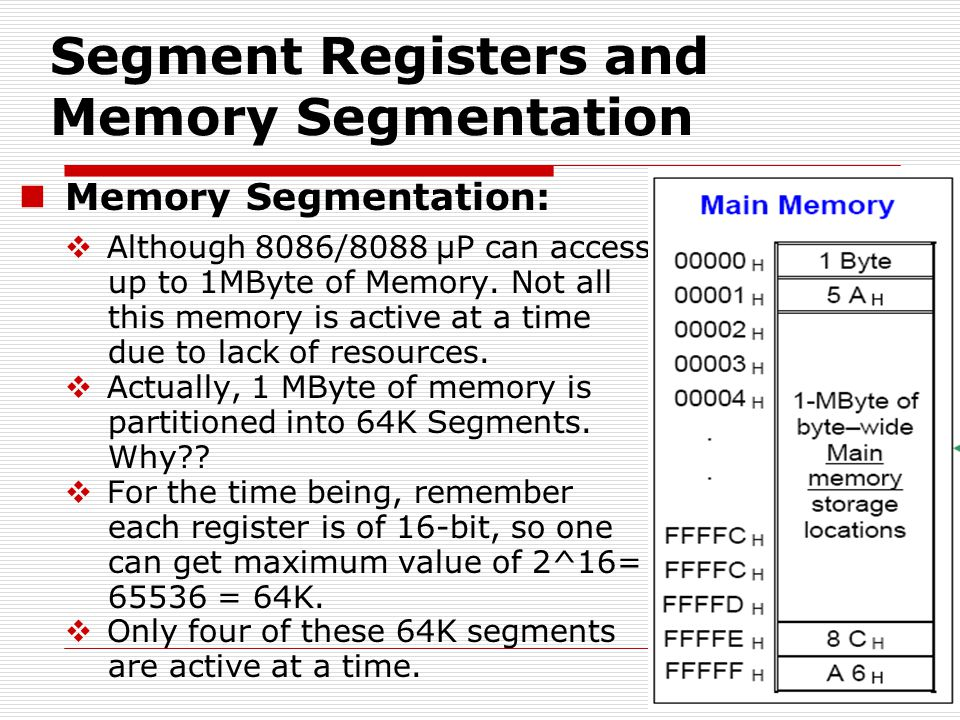 Memory Segmentation:  Although 8086/8088 µP can access up to 1MByte of Memory.