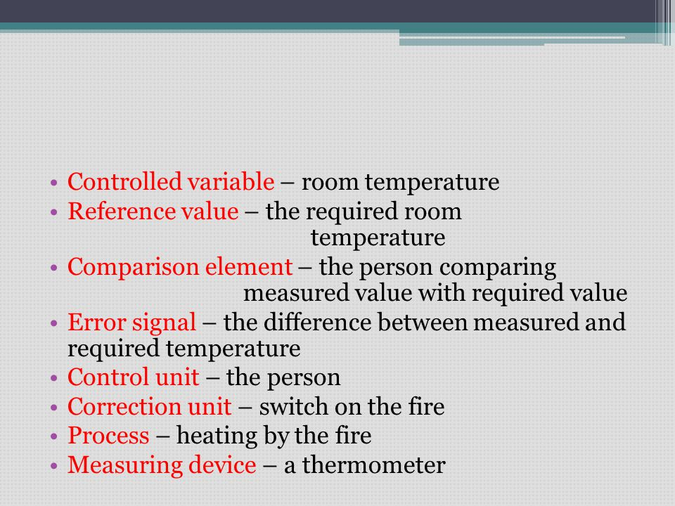 Controlled variable – room temperature Reference value – the required room temperature Comparison element – the person comparing measured value with required value Error signal – the difference between measured and required temperature Control unit – the person Correction unit – switch on the fire Process – heating by the fire Measuring device – a thermometer