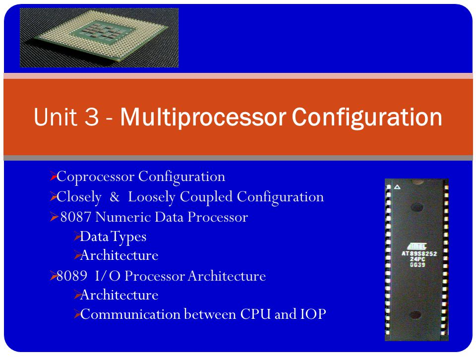  Coprocessor Configuration  Closely & Loosely Coupled Configuration  8087 Numeric Data Processor  Data Types  Architecture  8089 I/O Processor A