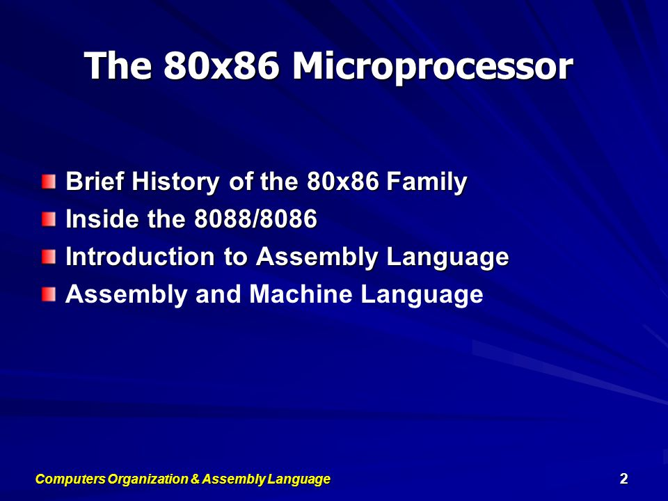 Computers Organization & Assembly Language 3 Brief History of the 80x86 Family 8080/8085:  The world's first general-purpose microprocessor.