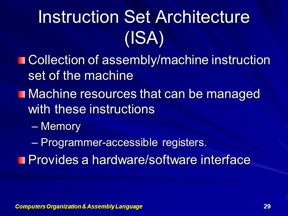 Instruction Set Architecture (ISA) Collection of assembly/machine instruction set of the machine Machine resources that can be managed with these inst