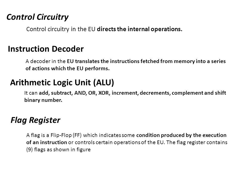 Control Circuitry Control circuitry in the EU directs the internal operations. Instruction Decoder A decoder in the EU translates the instructions fet