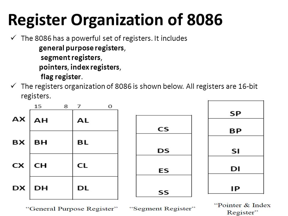 Register Organization of 8086 The 8086 has a powerful set of registers. It includes general purpose registers, segment registers, pointers, index regi