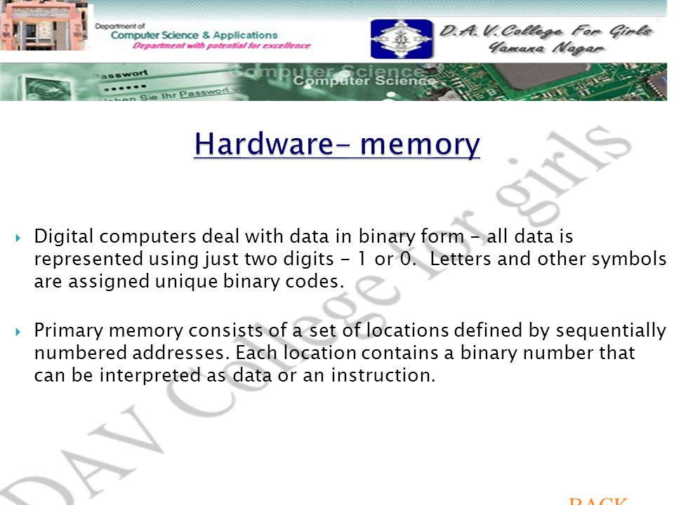  Digital computers deal with data in binary form - all data is represented using just two digits - 1 or 0.