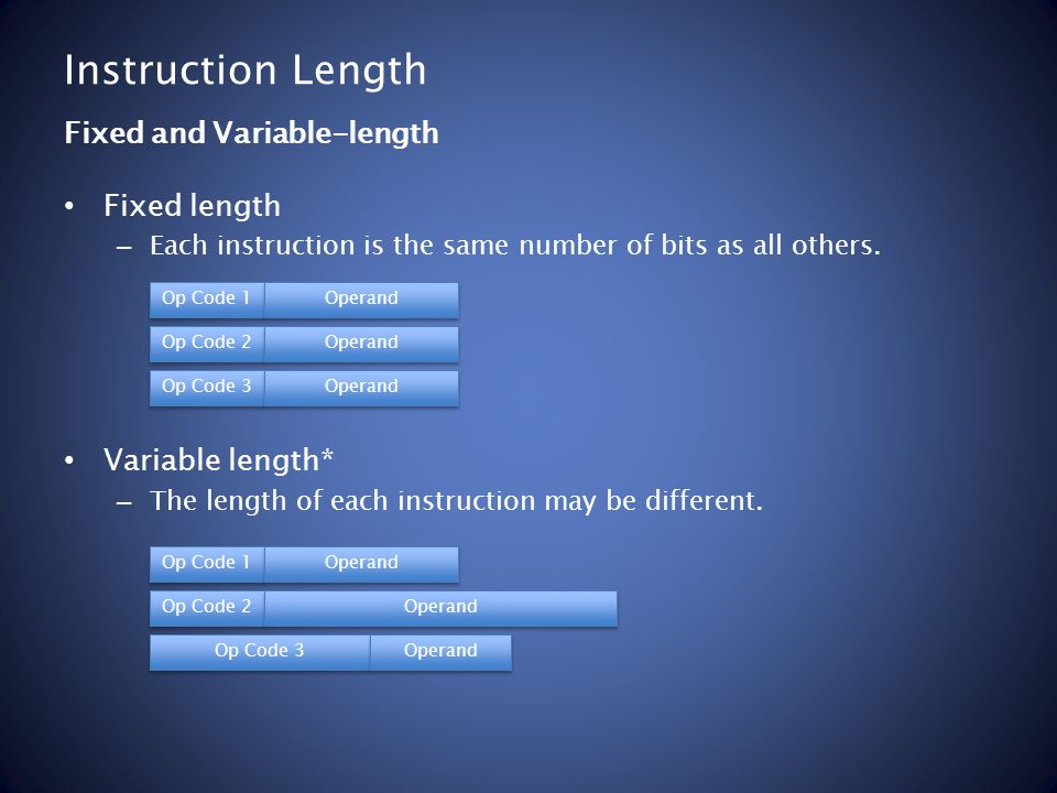 Instruction Length Fixed length – Each instruction is the same number of bits as all others. Variable length* – The length of each instruction may be
