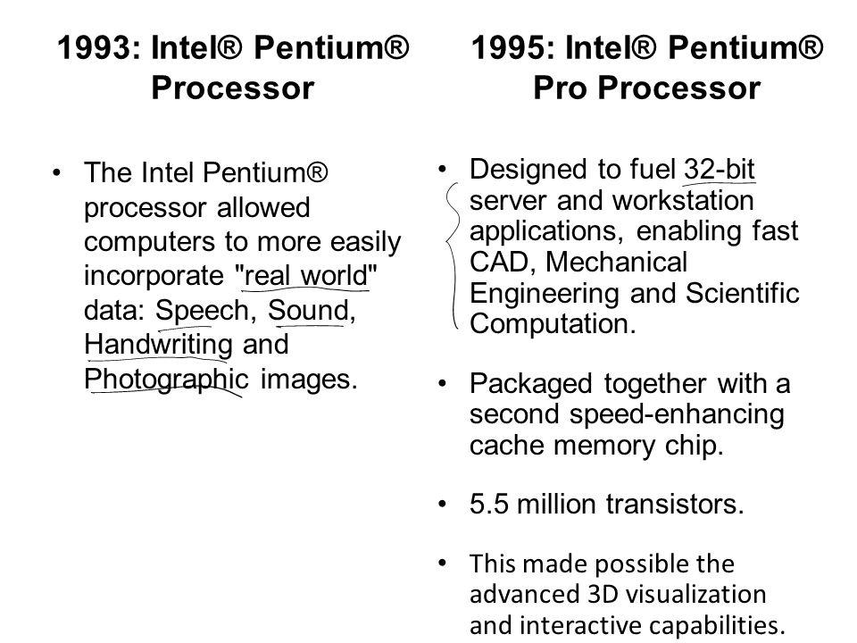 1993: Intel® Pentium® Processor The Intel Pentium® processor allowed computers to more easily incorporate