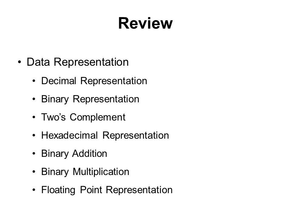Review Data Representation Decimal Representation Binary Representation Two's Complement Hexadecimal Representation Binary Addition Binary Multiplicat